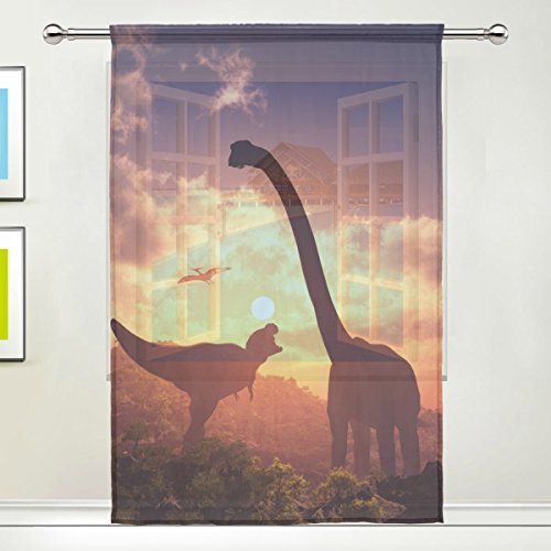 Dinosaur Pattern Print Window Sheer Curtain Panels, 55x84 inch, Gauze Curtain for Living Room Bedroom Home Deco - Out Of Print Costume Patterns