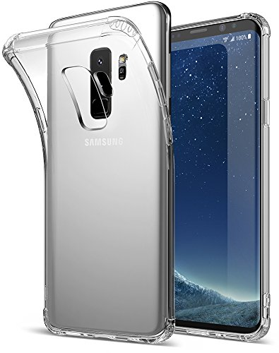 Galaxy S9 Plus Case, Exact Design Crystal Clear Reinforced Corners TPU Bumper Cushion Flexible Soft Gel TPU [Corner Protection] [Thin Slim Fit] Case Samsung Galaxy S9 Plus (2018)