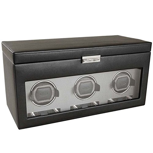 WOLF 456302 Viceroy Triple Watch Winder with Cover and Storage, Black by WOLF