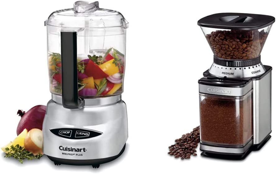 Cuisinart Mini-Prep Plus 4-Cup Food Processor, Brushed Stainless & DBM-8 Supreme Grind Automatic Burr Mill, Stainless Steel