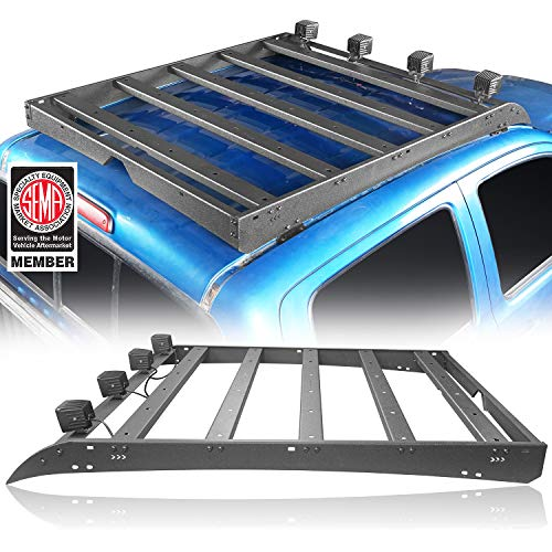 Hooke Road Tacoma Top Roof Rack Cargo Carrier w/4x18W LED Lights for Toyota 2/3 Gen Tacoma 2005-2019 (4-Doors only)