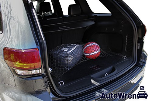 AutoWren 2011 2012 2013 2014 2015 2016 2017 2018 Jeep Grand Cherokee Premium Floor Trunk Cargo Net and BONUS Headrest Hanger Storage Hooks for Groceries, Purses