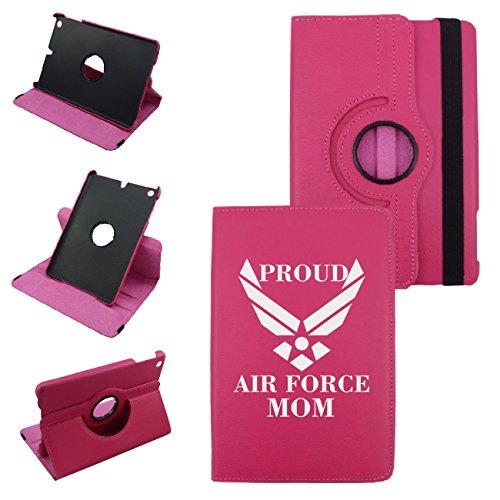 Proud Air Force Mom Ipad Mini 1/2/3 Hot Pink White Print Cover-Synthetic Leather-Rotating Case 360 Case with Strap-for Apple iPad mini 1 / iPad mini 2 / iPad mini 3 (Air Force Ipad)