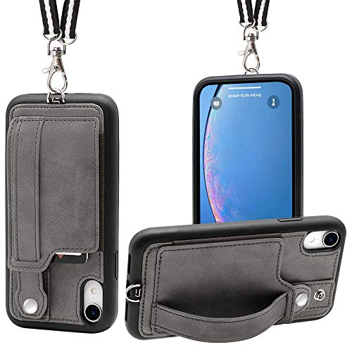 iPhone XR Necklace Case Lanyard Strap TOOVREN Xr iPhone Case Wallet Protective Cover with Stand Leather PU Card Holder Adjustable Detachable iPhone Lanyard for Apple iPhone XR 6.1 Inch (2018) -