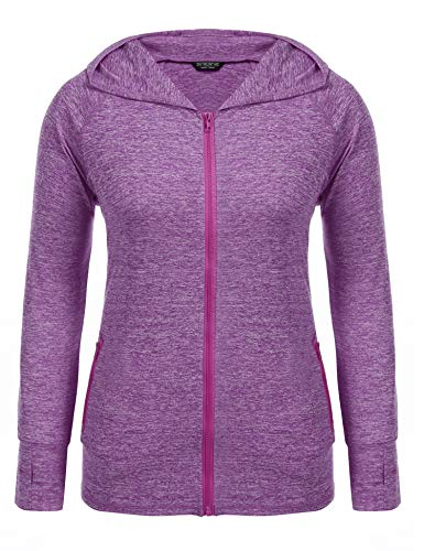 IN'VOLAND Womens Running Jackets Plus Size Lightweight Full Zip Up Track Workout Yoga Athletic Hooded Hoodie with Pockets Purple