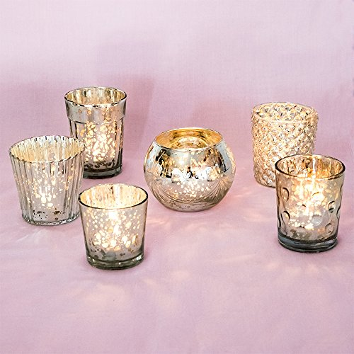(Luna Bazaar Best of Vintage Mercury Glass Candle Holders (Silver, Set of 6) - For Use with Tea Lights - For Home Decor, Parties, and Wedding Decorations - Mercury Glass Votive Holders)
