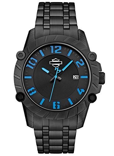 Harley-Davidson Men's Bulova Blue & Black Wrist Watch 78B132