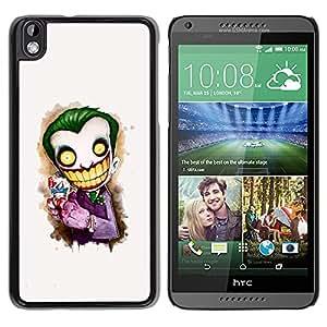 QCASE / HTC DESIRE 816 / payaso asustadizo cara blanca grandes dientes esqueleto / Delgado Negro Plástico caso cubierta Shell Armor Funda Case Cover