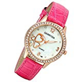 Lancardo Ladies' Slim Texured Pink Leather Watch With Rose Gold Tone Bling Crystal Case Sea Shell Dial