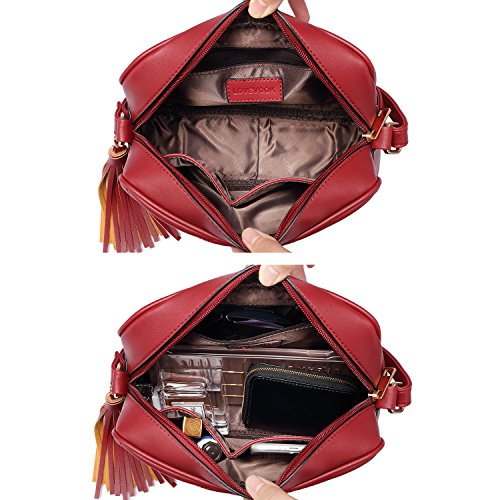 Rojo Negro Pequeñas bandolera borla Vino con Bolsos de cuerpo cruzado bolso laterales bolsas hombro bolsos de Oq5gZ