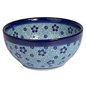 Traditional Polish Pottery, Handcrafted Ceramic Salad or Cereal Bowl 800 ml (d.16cm), Boleslawiec Style Pattern, M.702.Flow
