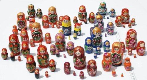 Lot 3 Sets of 5 Cute Nesting Stacking Wooden Dolls Matryoshka Babushka Russian Ethnic Art by C2A Enterprise
