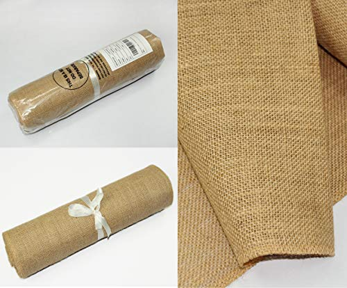 COTTON CRAFT - 2 Pack - Jute Burlap Table Runner - 12 in. x 108 in. Each - 6 Yards Total - Rustic Hessian - Overlocked Edges - for Weddings, Home Décor & Crafts - CONTENTS: Package contains Two Natural Color Jute Burlap Table Runners Rolls with overlocked and sewn edges SIZE: Each Table Runner Roll measures 12 inches wide and 3 Yards long (108 inches). HIGH QUALITY: Made from 100% Natural Jute Fibers. Tighter and no -gap weave makes it more durable material. - table-runners, kitchen-dining-room-table-linens, kitchen-dining-room - 51j%2Be23ZoQL -