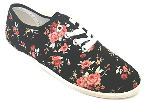 Shoes Shoes Sneakers Flower Canvas 18 up Lace Black Womens Colors 324 18 Available RWqRPrwSn6
