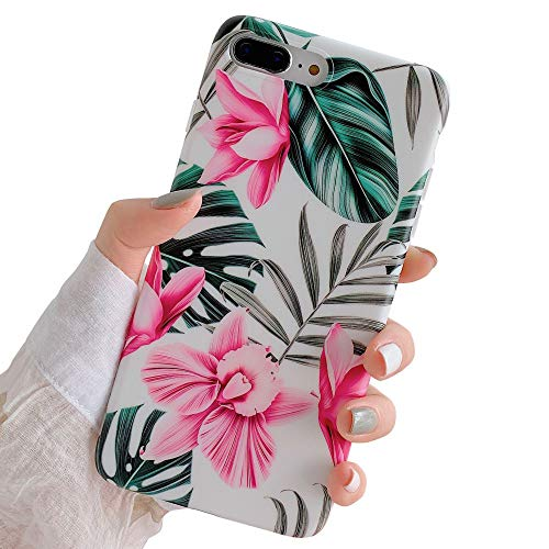 - iPhone 8 Plus / 7 Plus Case for Girls, YeLoveHaw Flexible Soft Slim Fit Full Protective Cute Shell Phone Case with Pink Floral and Green Leaves Pattern for iPhone 7Plus / 8Plus 5.5 Inch (Red Flowers)