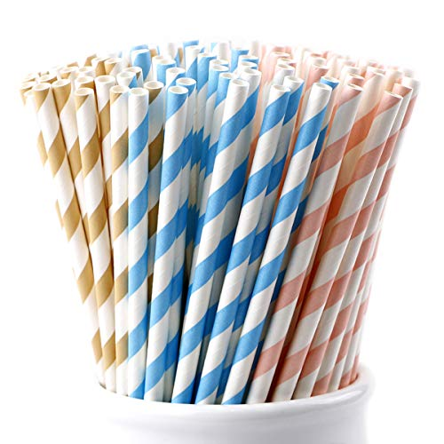 Webake Biodegradable Paper Straws 150 Bulk Assorted Colors - Pastel Pink Blue Brown Striped Drinking Straws for Juice, Smoothies, Wedding, Bridal/Baby Shower, Summer Party Suppliers & Decorations