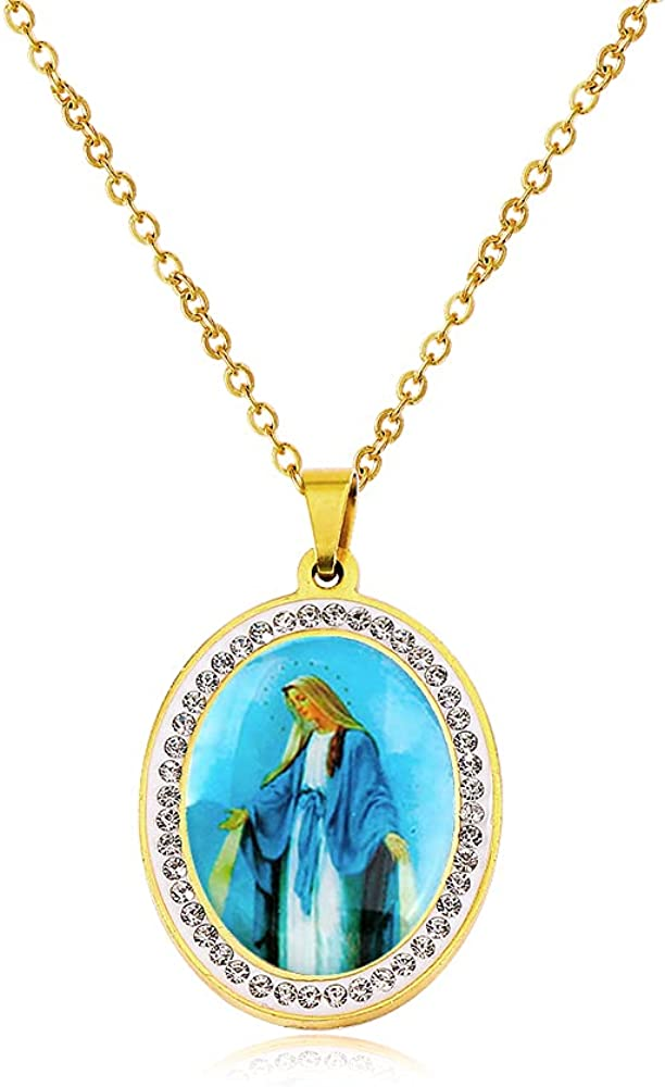 Virgin Mary Assemblage Necklace Catholic Gifts Religious Pendant Necklace French Religious Religious Jewelry