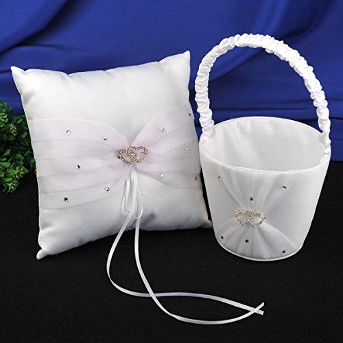 Topwedding 2 Heart Rhinestoned Wedding Flower Girl Basket and Ring Pillow Set in White Satin