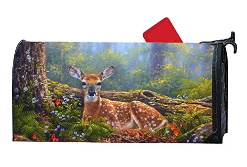 Magnetic Mailbox Cover Standard, Vinyl Mailbox Wraps Outdoor Decoration (Forests Deer Laying in Beautiful Flowers)