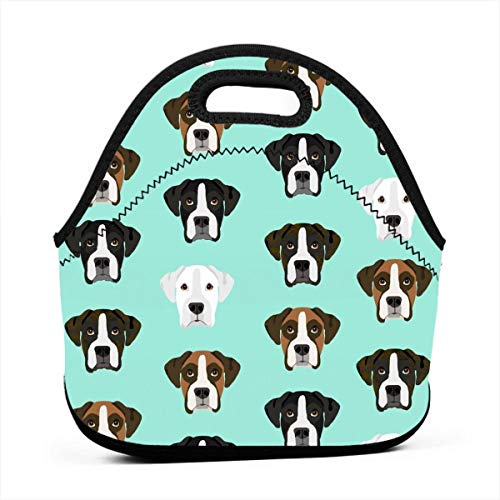 Reusable Lunch Bags Boxer Dog Boxer Dogs Boxer Heads Design - Aqua_792 Waterproof Insulated Lunch Portable Carry Tote Picnic Storage Bag Lunch box Food Bag Gourmet Handbag For School Office