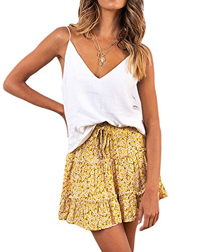 Salamola Women's Leopard Asymmetrical Ruffles High Waist Printed Cute Casual Mini Skirt (Z1636 Yellow, X-Large)