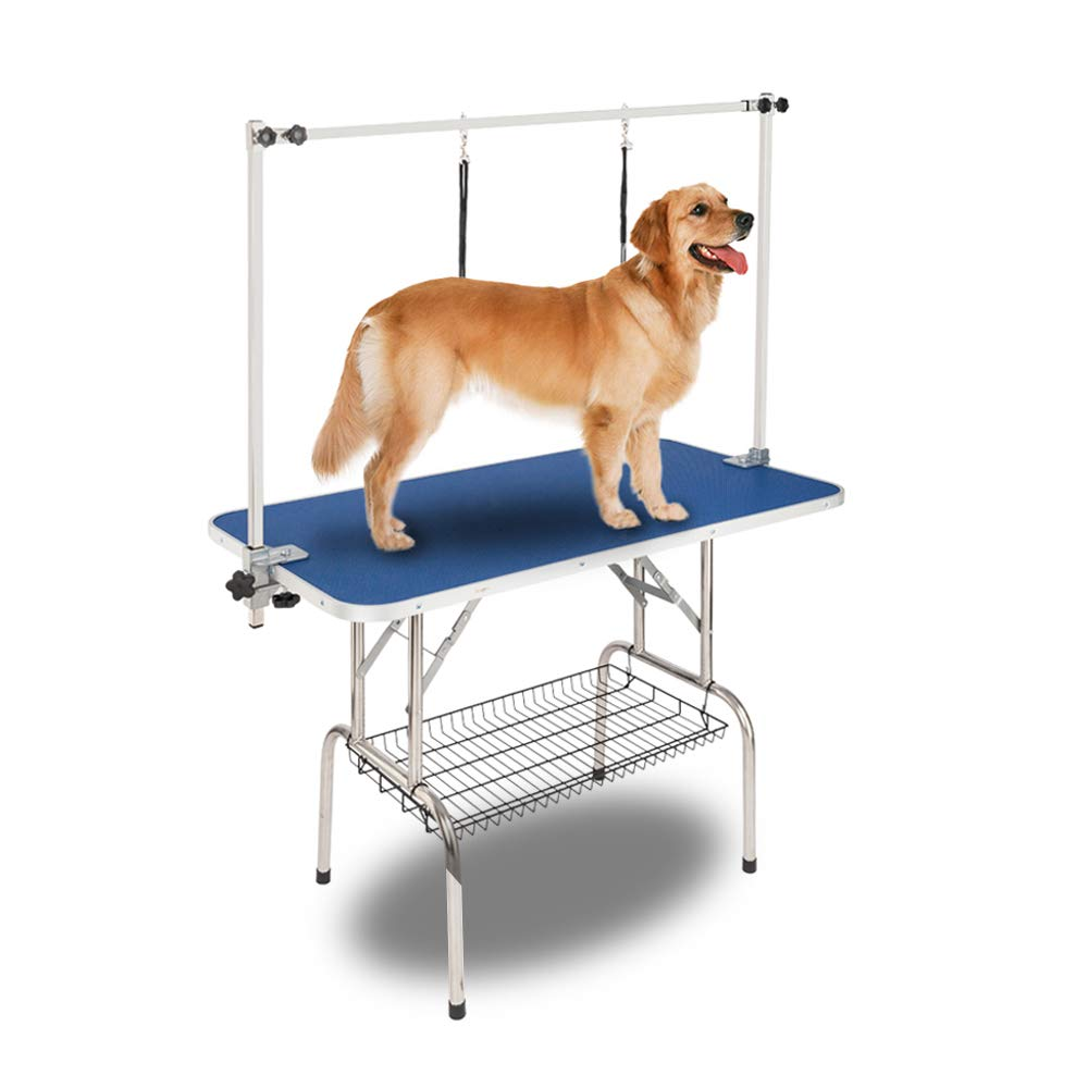 Bonnlo Upgraded Pet Grooming Table, 45'' x 24'' Portable Dog Grooming Table with Arm Noose & Mesh Tray, Adjustable Folable Pet Groom Table Stand for Dog Cat, Maxium Capacity Up to 330 LBS by Bonnlo (Image #1)