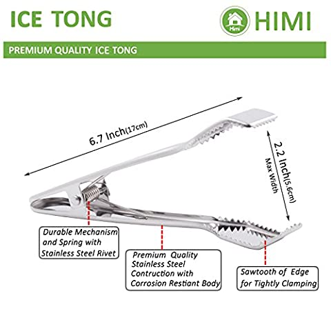 HINMAY Ice Tongs for Ice Bucket 6-3/4 Inch – Premium 18/8 Stainless Steel Ice Tongs with Teeth for Ice Sugar Cubes Tea Party Coffee Bar Serving
