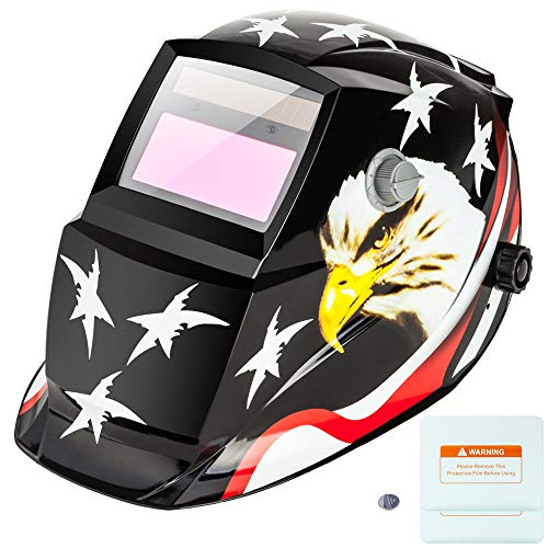 Z ZTDM Welding Helmet Welder Mask Solar Powered Auto Darkening Hood with Adjustable Wide Shade Range 4/9-13, Protective Gear, 2 Extra Lens & Battery for ARC MIG TIG (American Eagle)