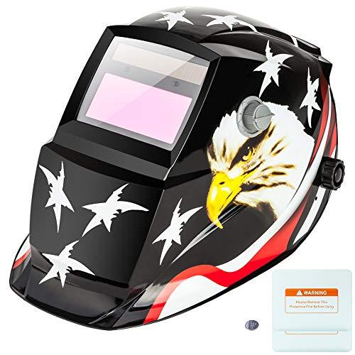 Z ZTDM Welding Helmet Mask Solar Auto Darkening,Adjustable Shade Range DIN 9-13/Rest DIN 4,Welder Protective Gear ARC MIG TIG,2pcs Extra Lens+CR2032 Battery (American Eagle)