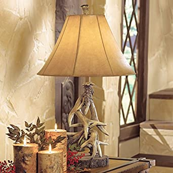 Attractive Faux Antler Table Lamp   Cabin Lighting