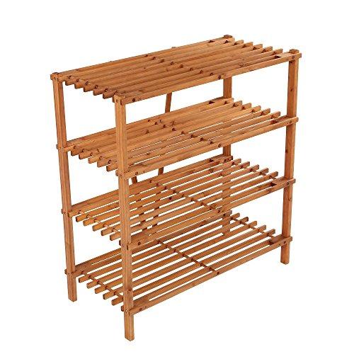 ULTIDECO 4 Tier Wood Shoe Rack Stand Tower Entryway Storage Bench Book Shelf Utility Closet Organizer Display Holder Cabinet Bathroom, Kitchen, Living Room, Bedroom, Honey Brown