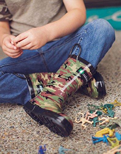 Handles Rubber Army Boots Waterproof Oakiwear Easy On Rain Camo with Kids wq8wgaF4
