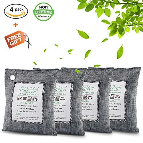 Nature Fresh, Natural Fresh Bag Absorbs Odors, Allergens And Harmful Pollutants, Charcoal Bag For Odors, Home, Cars, Closets Bathrooms And Pet Areas, Air Freshener Bag 200G 4Pack by SOHA Fresh Air
