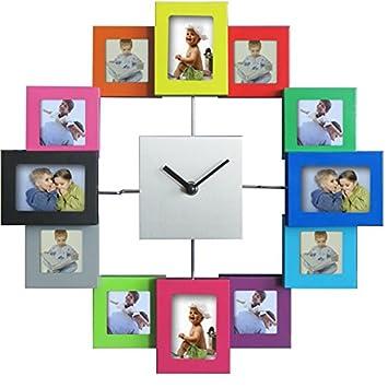 Amazon.com: Timelike 12 Picture Aluminum Photo Frame Wall Clock ...