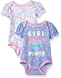 Warner Brothers Baby Girls' Supergirl 2 Pack Bodysuit, Blue, 6/9M