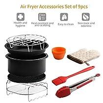 HOKUGA: 9pcs Household Air Fryer Accessories Set Electric Fryer Baking Basket Pizza Pan Grill Pot Pan Holder Brush Clip Kitchen Tool Set