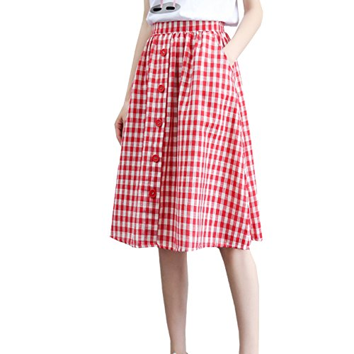 NIAIS Womens Taille Haute lastique Vintage Jupe Genou Jupe Courte Jupe  Carreaux Red