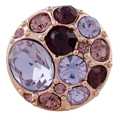 (Rockin Angels Rose Gold Purple Pink Rhinestone Cluster 20mm Snap Charm for Ginger Snaps)