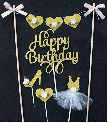 Astra Gourmet 5-piece Gold Happy Birthday Cake Toppers Set - Include a Banner, high heel topper, love topper and tutu skirt topper - Great for Baby Girl's Birthday Party Event Decorations (High Heel Birthday Decorations)