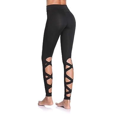 03b4a2e73c3cb Joyshaper Workout Leggings for Women with Pockets Cutout Strappy Tights  High Waist Capri Pants Running Gym