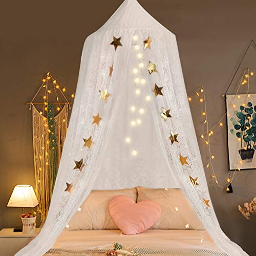 (Jeteven White Lace Dome Bed Canopy Kids Play Tent Princess Mosquito Net Home Decor Height 250cm/98.4in)