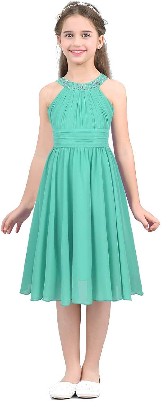 inhzoy Mädchen Kleider Festlich Hochzeit Brautjungfern-Kleider Sommerkleid  Kurz Partykleid Abendkleid Festkleid Knielang Gr. 17 17 17 17 17 17