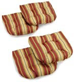 Blazing Needles Indoor/Outdoor Spun Poly 19-Inch by 19-Inch by 5-Inch All Weather UV Resistant U-Shaped Cushions, Kingsley Stripe Ruby, Set of 4