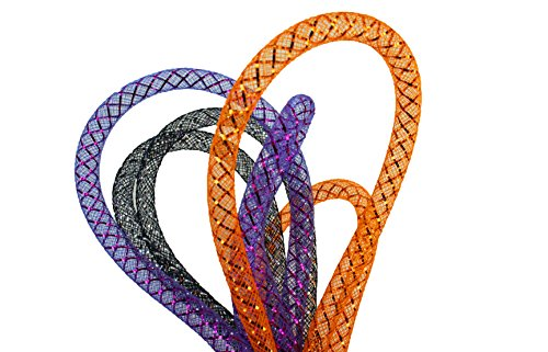 Halloween Set of 3 Colors 8MM Deco Mesh Tubing Flexible Tube Party 21 yards total (Black, Purple, Orange) -