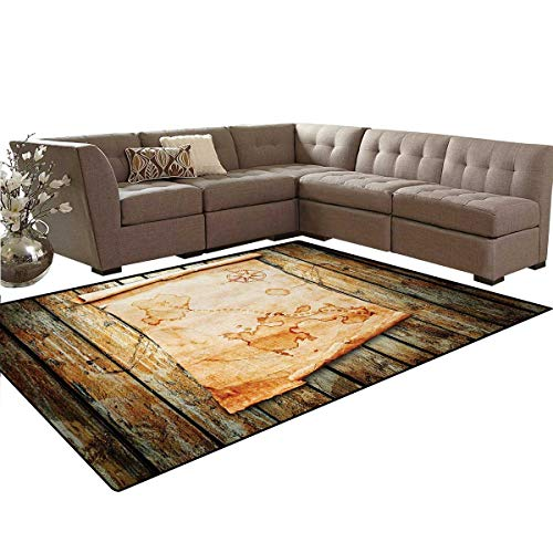 Island Map,Floor Mat,Treasure Map on Rustic Timber X Marks The Spot of Gold Nautical Pirates Concept,Soft Area Rugs,Cream Brown,6'6