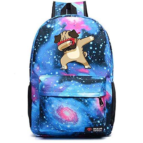 Funny Hip Hop Pug Dabbing Dab backpack men girl Student School Bags travel Shoulder Bag Starry sky Rucksacks Blue