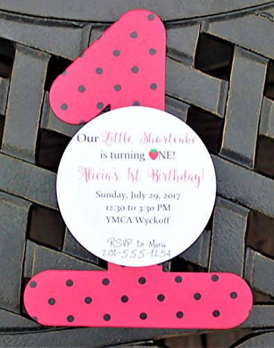 Set of 10 Girl First Birthday Party Invitations