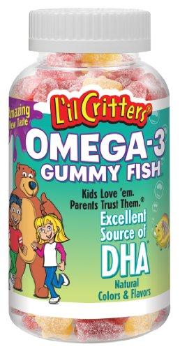 L'il Critters oméga-3 des poissons Gummy avec le DAH, 120-Count Bouteilles (pack de 3)
