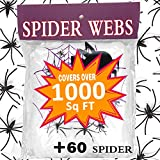 Halloween Decoration Giant Spider Web Stretch 1000 Sq Ft with 60 Fake Spider for Outdoor Indoor Décor Large Cobwebs Spider Silk House Window Door Garden Bar Costume Spooky Party Favor Mischievous Supplie