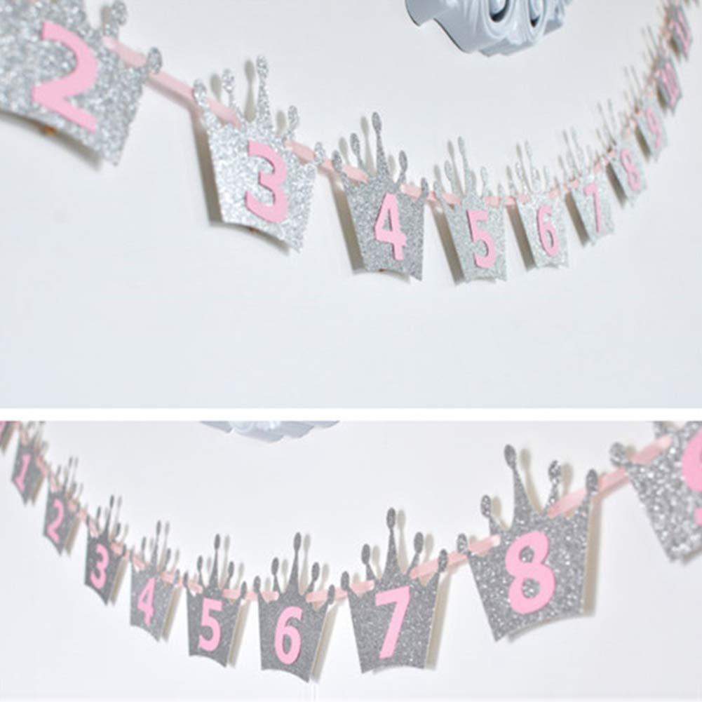 Baby Glitzer Krone Monatliches Foto Banner 1-12 Monate Girlande Wimpelkette Banner H/ängende Dekoration f/ür Hochzeit Geburtstag Party Supplies 1# Steellwingsf 1